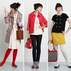 Kate Spade- the middle outfit with the striped socks! Must do this next fall or winter...