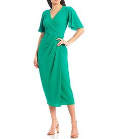 Mother Of Groom Dresses, Midi Dress With Sleeves, Flutter Sleeve, Dillards, Dresses For Work, Women's Dresses, Latest Trends, Wrap Dress, Gowns