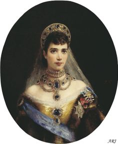 The sapphire and diamond pendant of the choker once belonged to Empress Maria Feodorovna of Russia, mother of Emperor Nicholas II and sister to Queen Alexandra (Edward VII's consort). The Empress had one of the most valuable jewellery collections of her time, including a magnificent sapphire parure of rare quality and beauty. While it is definite that the pendant comes from Maria Feodorovna's collection, it is not certain whether it had at any time been part of the sapphire parure.