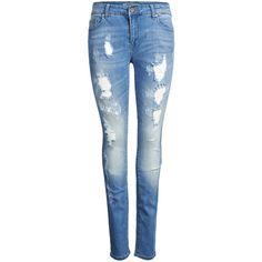 ONLY Coral Reg. Skinny Jeans ($33) ❤ liked on Polyvore featuring jeans, pants, bottoms, calças, pantalones, light blue denim, destroyed skinny jeans, distressed skinny jeans, denim skinny jeans and skinny jeans
