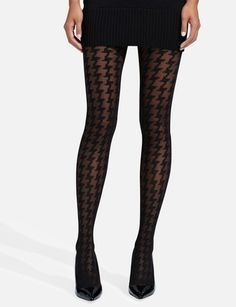 Sheer Houndstooth Tights | Women's Accessories | THE LIMITED