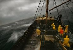 A dragger from Lancashire in the north of England rides a storm in the North Sea, Iceland, 1970, photograph by Harry Gruyaert.