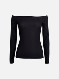 En ribbemønstret topp i polyesterjersey. Off the shoulder og tettsittende passform.  Sort