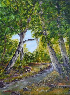 "Original painting - Acrylic Landscape - Title: ""The Brook"". $100.00, via Etsy."