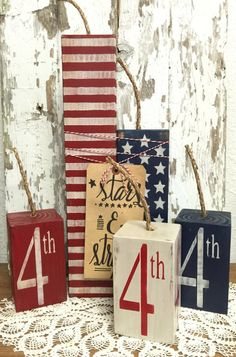 Fourth of July Wood Firecrackers - Primitive Decor - Rustic Home Decor American Flag - Americana - Summer Decorations for Fireplace Mantel : Fourth of July Decor Fourth of July Decorations Fire Americana Crafts, Patriotic Crafts, July Crafts, Summer Crafts, Holiday Crafts, Patriotic Party, Country Crafts, Holiday Tree, Holiday Ideas