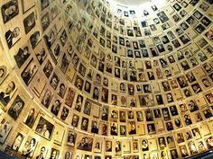 """Holocaust Museum, Israel.  This """"Hall of Names"""" provides the names and photos of some of the 6 million Jews who died in the Holocaust of WWII."""