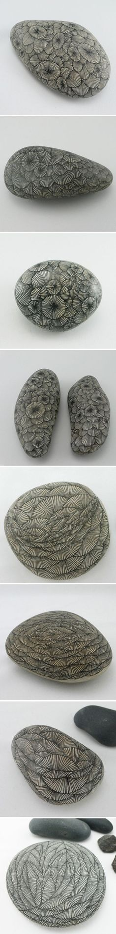 hand drawn lines on stones. one of the most simple and satisfying nature diys.