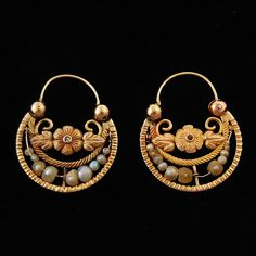 Antique Mexican Gold Hoop Earrings Diamonds Pearls