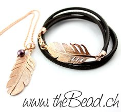 Lederarmband mit grosser Feder // feather bracelet and feather necklace made of 925 sterling silver rosegold plated ... yours - theBead.ch ♥