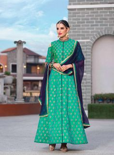 Sea Green Silk Ankle Length Anarkali Suit 85272