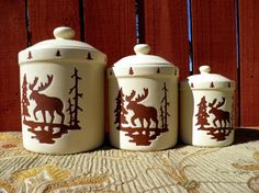 Moose Canister Jars Log Cabin Decor Rustic by TridentsTreasure