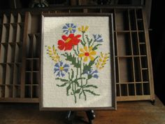 Vintage Flowers Needlepoint Framed Abstract Floral Yarn Needlepoint on Etsy, $24.00