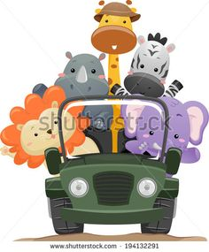Jeeps in Jungle Cartoon | Illustration Featuring Cute Safari Animals on a Road Trip - stock ...