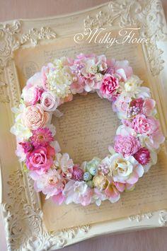 Jewelリース* Pink×White Flowers* の画像|ウェディング&フラワーリースのMilkyFlower*