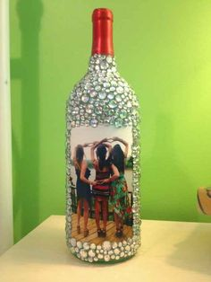 Rhinestone Wine Bottle Picture Frame and other ideas to do with leftover wine bottles