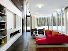 entertaining and private spaces: Page Road House Home designed by Andrew Cohen Architects. Love the windows!Home designed by Andrew Cohen Architects. Love the windows! Modern Interior Design, Interior Architecture, Interior And Exterior, Building Architecture, Contemporary Design, Living Room Interior, Living Room Decor, Transitional Living Rooms, Transitional Sofas