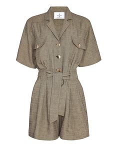 Carolina Ritz Short Sleeve Linen Jumper: A boxy cut collared upper bodice witrh short sleeves. Decorative button placket and two flap pockets. Two slanted pockets at short bottoms with subtle frontal pleat. Self tie belt included. In beige/black. Fabric: 70% cotton/30% linen Made in France. ...