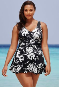 Women Swimwear One Pieces Swimsuits Black and White Print floral high waisted bathing suits Plus Size Swimwear Plus Size Bikini Bottoms, Plus Size Tankini, Women's Plus Size Swimwear, Curvy Swimwear, Bathing Suit Dress, Swim Dress, Curvy Bikini, Monokini, One Piece Swimsuit