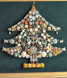 Vintage Costume Jewelry Light Up Christmas Tree Velvet Wall Art. $160.00, via Etsy.
