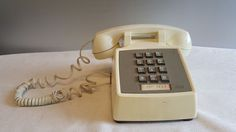 70's Western Electric AT&T White Off-White Table Push Button Telephone Phone #WesternElectric