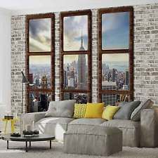 [ Wall Mural New York City Skyline Window View Xxl Photo Wallpaper Ideas Stone Pattern Homecaprice ] - Best Free Home Design Idea & Inspiration Accent Wallpaper, Photo Wallpaper, Wall Wallpaper, Wallpaper Ideas, Window View, Window Wall, New York Loft, Ideas Hogar, Most Beautiful Wallpaper