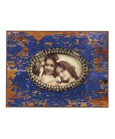 Blue & Brown Oval Frame