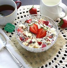 Strawberry Chia Overnight Oats  Per 1.7 cup serving: 339 calories, 15.6 g fat, 12.7 g fiber, 11.6 g sugar, 11 g protein (calculated using unsweetened almond milk and raw almonds)