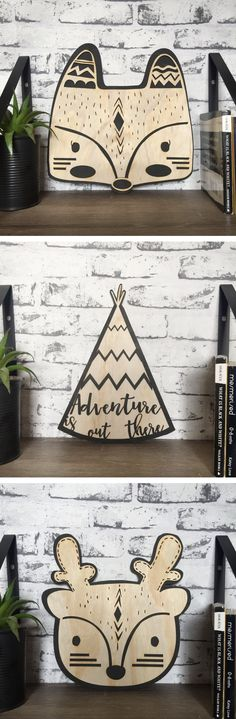 Tribal boho deer, fox and teepee plywood wall hanging - monochrome bohmemian, black, wood nursery piece. Animal art for kids rooms. Perfect holiday Christmas gift for children kids from Etsy.