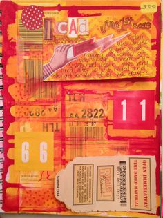 Art Journal Page by Rachel Mims http://rachelmims.blogspot.com/2013/06/icad-stickers.html  using stickers, tape, paint, ink, ICAD, junk mail, a stencil, cut out magazine letters, a pen, and a magazine image.