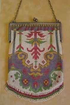 Antique Art Nouveau Micro Bead Beaded Purse Handbag