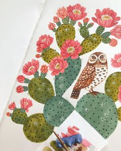My Owl Barn: Happy Friday! + Thank You Cards by Oana Befort Sketchbook Inspiration, Creative Inspiration, Painting Inspiration, Owl Illustration, Botanical Illustration, Animal Illustrations, Desert Art, Owl Art, Cool Paintings