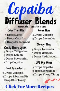 Copaiba Essential Oil Benefits And Recipes - These diffuser blends are awesome. Use them to help you sleep, lift your mood or calm the kids. Essential oils have so many uses! Copaiba Essential Oil, Essential Oil Diffuser Blends, Essential Oil Uses, Young Living Essential Oils, Doterra Oil Diffuser, Young Living Copaiba, Essential Oils For Cough, Cedarwood Essential Oil, Geranium Essential Oil