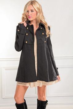 BLACK WOOL GIANT BUTTON ACCENT LONG PEACOAT,Trendy & Fashion Style Women Coats-Sexy Women Coats,Winter Coats,Hooded Coat,Fur Coats,Leather C...