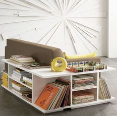 Sofa with built-in shelving. Great for tiny spaces