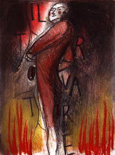 IL TROVATORE // BOZZETTO // Bozzetto disegnato dall'illustratrice Francesca Ballarini per l'opera di Giuseppe Verdi rappresentata allo Sferisterio. #muriedvisioni #altrochelopera www.sferisterio.it