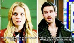 """Says the daughter of snow white and prince charming."" Hook and Emma."