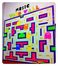 theme - music word wall color code ghosts/pacman to grade level colors cute bulletin board Classroom Displays, Music Classroom, Classroom Themes, Classroom Signs, Classroom Walls, Future Classroom, School Classroom, Music Word Walls, Music Bulletin Boards
