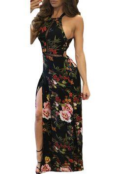b500a6d3b7950f Black Floral High Neck Open Back Split Maxi Dress