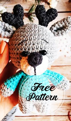 Free Reindeer Crochet Amigurumi Pattern Design for Christmas , amigurumi patterns free; amigurumi for beginners; Crochet Amigurumi Free Patterns, Crochet Dolls, Crochet Stitches, Free Crochet, Crochet Crafts, Crochet Projects, Rena, How To Start Knitting, Amigurumi Doll