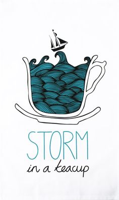 Storm in a Teacup tea towel - Designer tea towels from ToDryFor.com