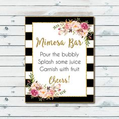 Mimosa Bar Sign Black And White Stripes by GraphicWispPrints