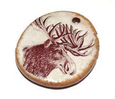 Ceramic Moose Pendant Stoneware Handmade Cream Earthy by Grubbi