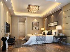 plafond moderne avec plafonnier et corniche à spots encastrés