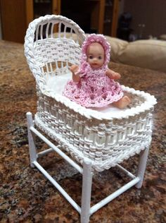 Wicker cradle and dolly made and dressed by me Wicker, Miniatures, Minis, Loom