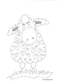 Schaap doodle ~ I think the hearts add the loving touch! More drawings sheep Hand Embroidery Patterns, Machine Embroidery, Sheep Drawing, Easter Drawings, Sheep Crafts, Sheep Art, Motifs Animal, Sheep And Lamb, Happy Paintings