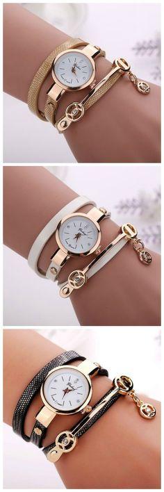 Wrap Pu Leather Beige Dress Woman Wrist Watch
