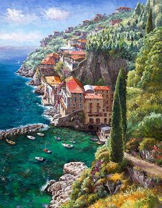 Andrea De Luca, Hand Embellished Giclee on Canvas by Sung Sam Park Beautiful Artwork, Beautiful Places, Costa, Park Art, Landscape Photos, Pretty Pictures, Cool Places To Visit, Art Inspo, Fine Art