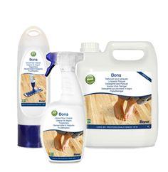 Reinigen / schoonmaken van houten vloeren - een compleet professioneel assortiment.     Kan gebruikt worden met de Bona Spray Mop.