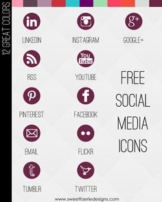 Free Social Media Icons for bloggers  @www.carrieloves.com  (extensive list of icons in 12 colors)