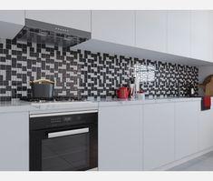 Grey Mix Modular Glass Mosaic - Glass Mosaic Tiles from Tile Mountain Splashback Tiles, Glass Mosaic Tiles, Porcelain Tile, Cleaning Wipes, Kitchen Design, Kitchen Cabinets, Mountain, Flooring
